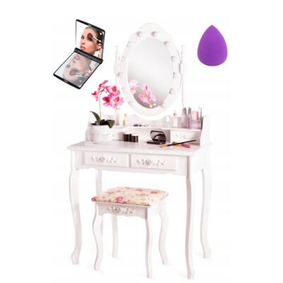 Kozmetikai fésülködő és sminkasztal székkel -LED világitás. +Ajándék TLc11