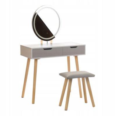 Skandináv fésülködő asztal Led világítással - ovális