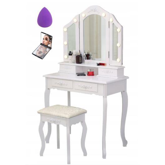 Kozmetikai fésülködő és sminkasztal székkel  LED-es világítás   TLc14 + Ajándék