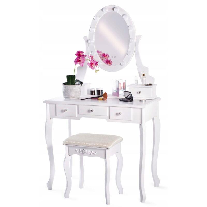 Kozmetikai fésülködő és sminkasztal székkel -LED világitás.  TLc09