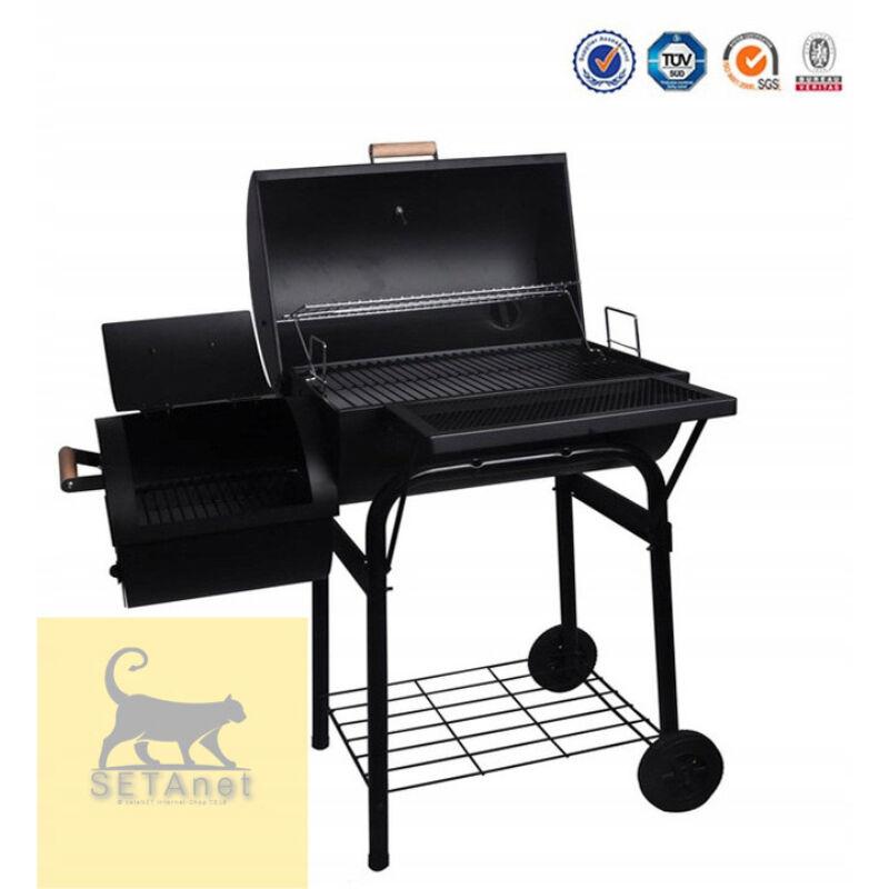 BBQ grill és smoker 125 cm + ajándék 2,5 kg faszén