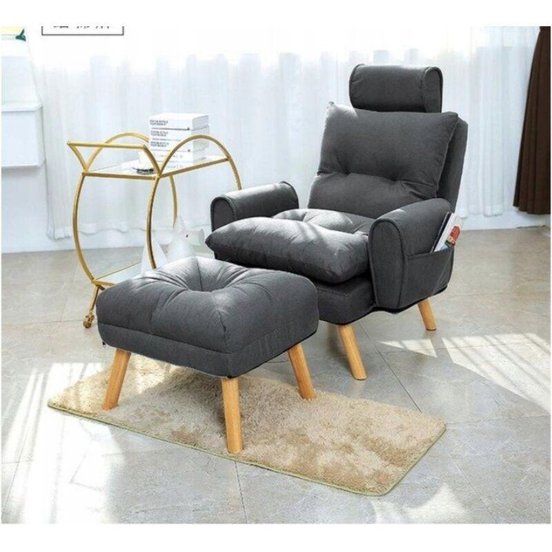 Dönthető háttámlás  Skandináv fotel lábtartóval. (FR01dg) grey